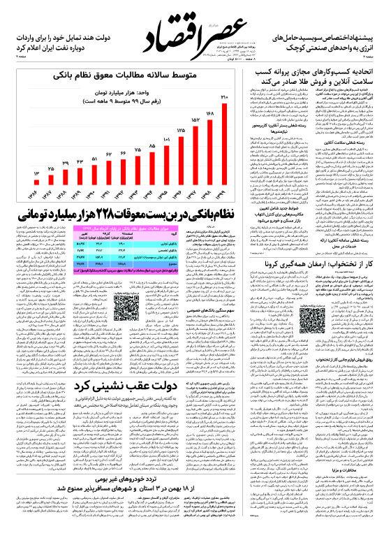 نسخه الکترونیک روزنامه 18 بهمن ماه ۱۳۹۹