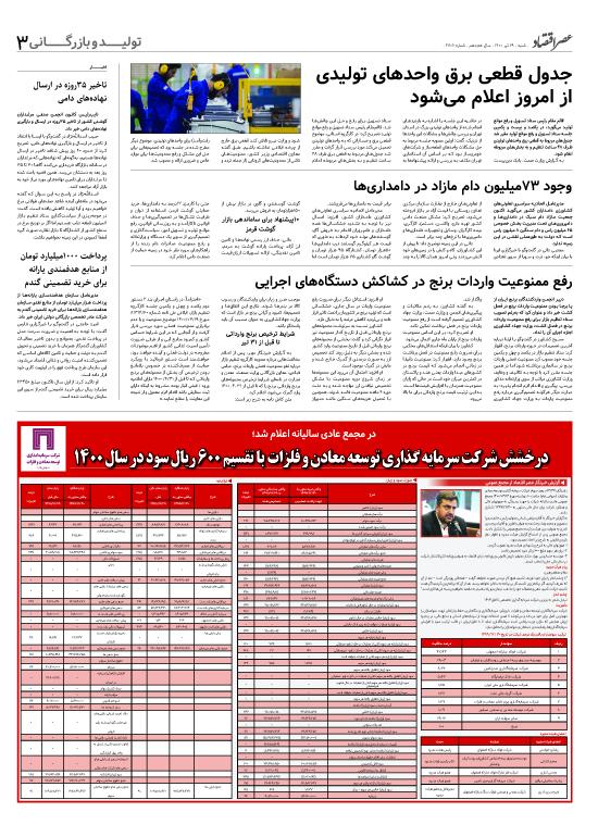 صفحه تولید و بازرگانی روزنامه امروز