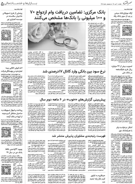 صفحه بازارها و خدمات مالی روزنامه امروز